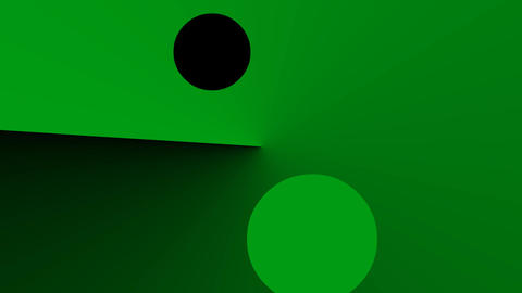 Green abstract background with gradient rays and circles elements moving on Animation