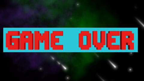 Game over, play again outro, pixelated lettering, rotating horizontal block, 3d Animation