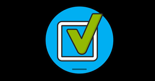 Checkbox flat icon animated with alpha channel Live Action