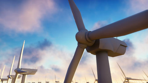 Windmill farm at sunrise. Windmill against a blue sky. Realistic loopable Animation