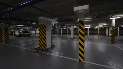 Underground parking with few cars Footage