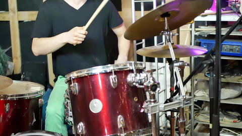 Playing drums in studio. Concept of drummer rock Live Action