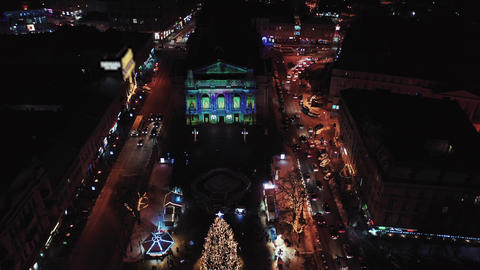 Night aerial view of Lviv Opera, Central part of old city. Ukraine Footage