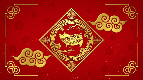 Chinese new year 2019 with golden pig zodiac on red background looped 애니메이션