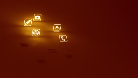 Glowing Mobile App Icons Gold (Two Short Clips) Stock Video Footage