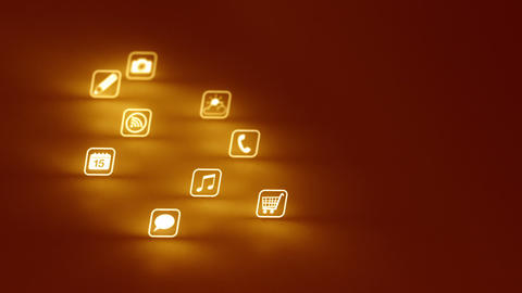 Glowing Mobile App Icons Gold (Two Short Clips) stock footage
