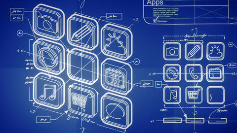 Mobile App Development Blueprint Concept stock footage