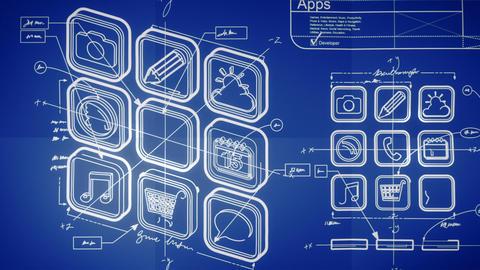 Mobile App Development Blueprint Concept Stock Video Footage