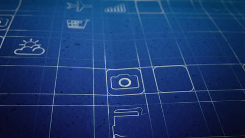 Mobile App Development Blueprint Concept Stock Video Footage
