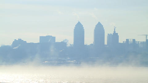 City landscape in cold and foggy morning Stock Video Footage