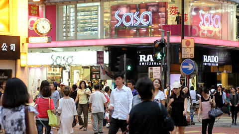Crowd in Hong Kong Stock Video Footage