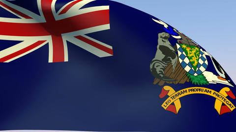 Flag of South Georgia and the South Sandwich Islands Stock Video Footage