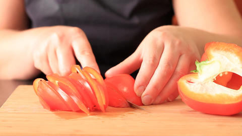 Cutting Of Pepper For Salad stock footage