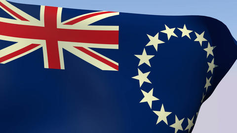 Flag of the Cook Islands Stock Video Footage