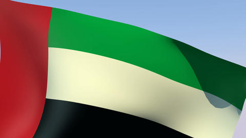 Flag of the United Arab Emirates Stock Video Footage