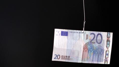euro on fishing hook Footage