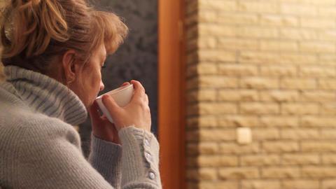 woman drinks tea Footage