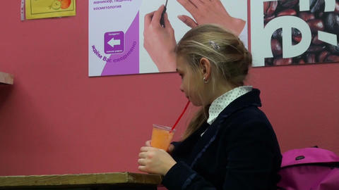 Girl Drinking Juice stock footage