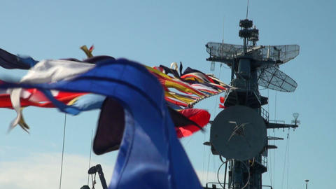 Sailor with signal flags Footage