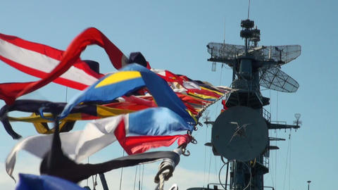 Sailor with signal flags Stock Video Footage