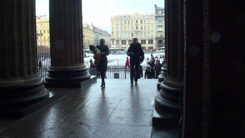 People at the entrance to the church Stock Video Footage