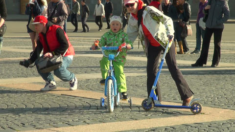 a child on a bicycle Stock Video Footage