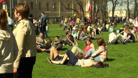 People lie on the grass Stock Video Footage