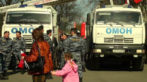 Policemen keep order Stock Video Footage