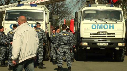Policemen keep order Footage