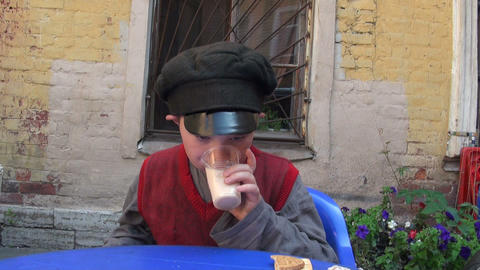 Boy drinking milk Stock Video Footage