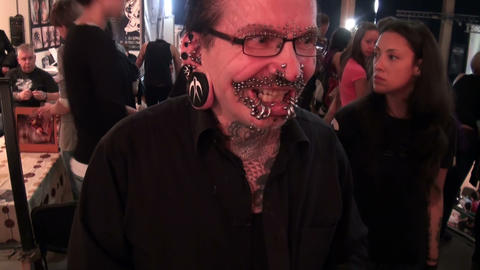 Piercing on the body and face Stock Video Footage