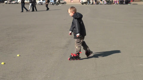Skating on roller skates Stock Video Footage