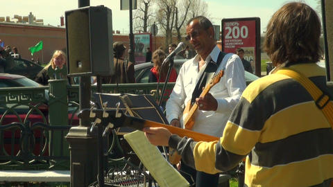 Soloist of the ensemble with a guitar Stock Video Footage