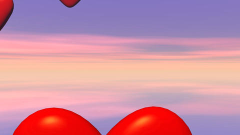 Flying hearts - 3D render Stock Video Footage