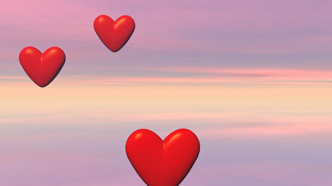 Flying Hearts - 3D Render stock footage