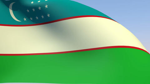 Flag of Uzbekistan Stock Video Footage