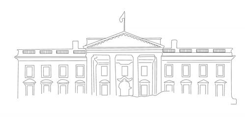 4 K White House 01 handdraw Stock Video Footage