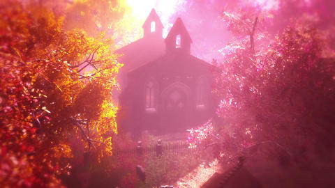 Cemetery Autumn 3D render Stock Video Footage