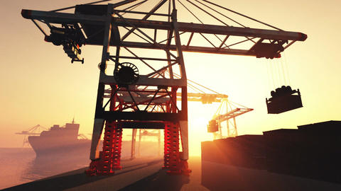 Industrial Port Sunset Sunrise 3D render Animation
