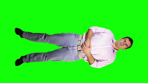 Men Bad Stomach Full Body Greenscreen 5 Stock Video Footage