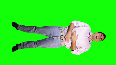 Men Bad Stomach Full Body Greenscreen 5 Footage