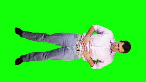 Men Bad Stomach Full Body Greenscreen 5 Stock Video Footage