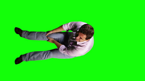 Men Knee Pain Full Body Greenscreen 6 Footage