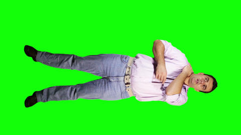 Men Shoulder Pain Full Body Greenscreen 2 Stock Video Footage
