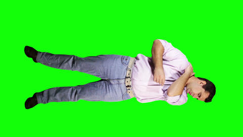 Men Shoulder Pain Full Body Greenscreen 2 Stock Video Footage