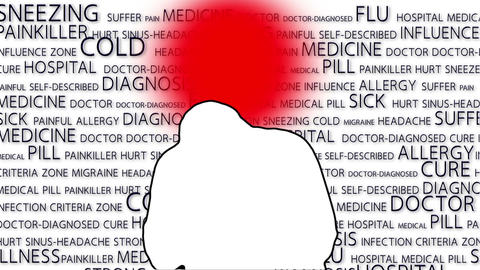 Sneezing Man Silhouette with Text 4 Stock Video Footage