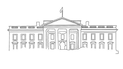 White House 01 handdraw Stock Video Footage