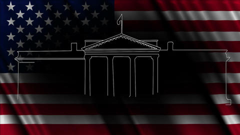 White House with USA flag 03 handdraw Stock Video Footage