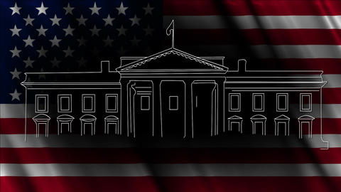 White House with USA flag 03 handdraw Animation
