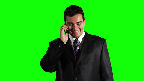Young Businessman Cell Phone Good News Greenscreen 42 Footage